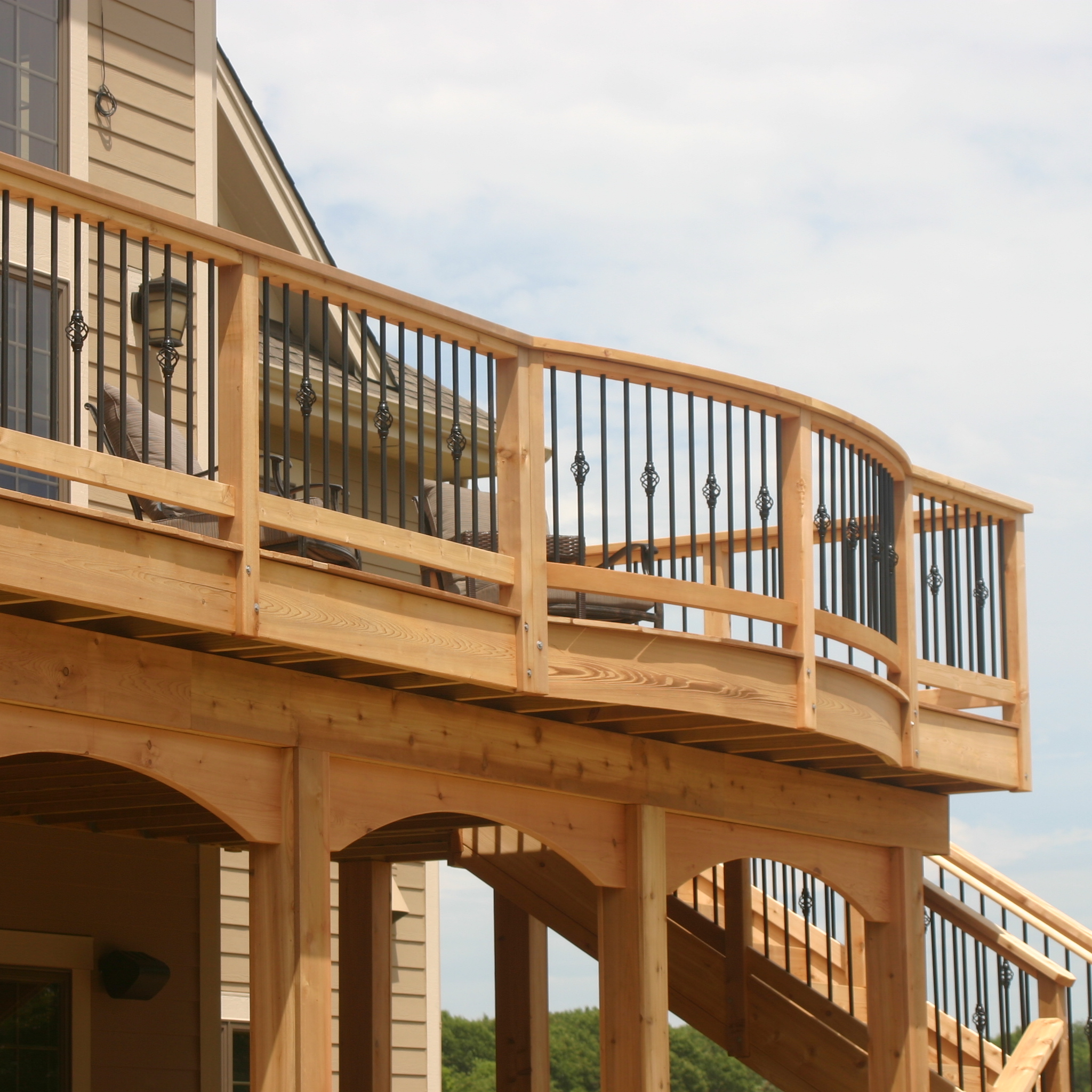 Cedar Deck with Iron Railing